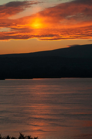 Orange light over the Columbia River.